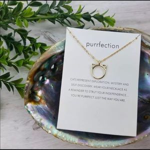 Gold Purrrfection Cat Ears Necklace - NEW